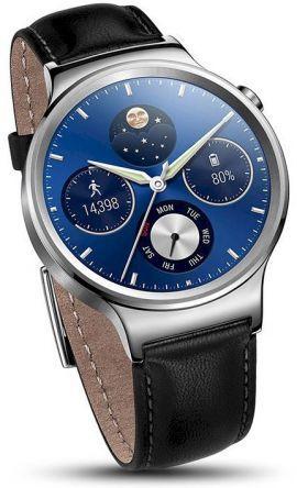 Smartwatch HUAWEI Watch Srebrny + pasek skórzany czarny