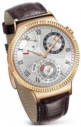 Smartwatch HUAWEI Watch Złoty + pasek skórzany brązowy