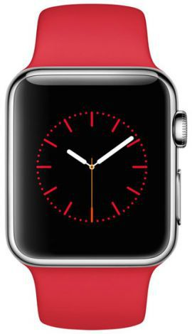 Smartwatch APPLE Watch koperta 38mm (srebrna stal/czerwony)