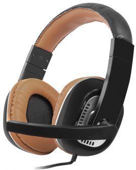 Słuchawki nauszne NATEC Kingfisher z mikrofonem Czarno-brązowy