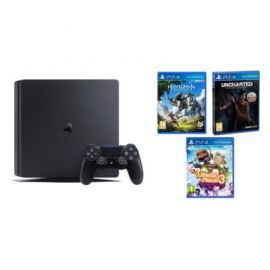 Konsola SONY PlayStation 4 Slim 1TB E Chassis Czarna + Horizon Zero Dawn + Uncharted: Zaginione Dziedzictwo + Little Big Planet 3 + To jesteś Ty Vouch