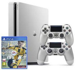 Sony PlayStation 4 Slim 500GB (srebrny) + gra + 2 pady