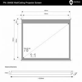 4world Elektryczny Ścienny/Sufitowy Ekran Projekcyjny z Pilotem 140x140 (1:1) Matt White
