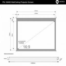 4world Elektryczny Ścienny/Sufitowy Ekran Projekcyjny z Pilotem 221x124 (16:9) Matt White