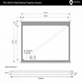 4world Elektryczny Ścienny/Sufitowy Ekran Projekcyjny z Pilotem 244x183 (4:3) Matt White